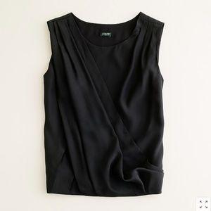 J. Crew 100% silk charmeuse drape neck top black
